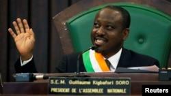 Guillaume Soro à l'Assemblée Nationale ivoirienne à Abidjan le 8 février 2019.