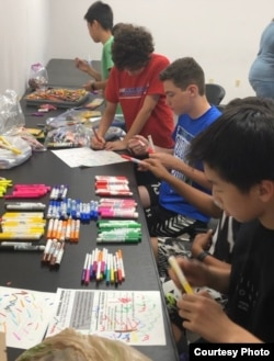 Through his nonprofit, Kids Changemakers, Caleb Oh and friends collect school supplies for students who cannot afford to buy them. (Courtesy Caleb Oh)