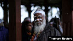 Aboriginal groups march against planned changes in heritage protection laws, in Perth, Aug. 19, 2021.