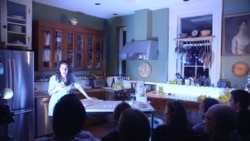 Nadine Malouf in a scene from Oh My Sweet Land at a home in Brooklyn. (The Play Company)