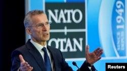 Генсек НАТО Йенс Столтенберг на пресс-конференции в Вашингтоне. 4 апреля 2019