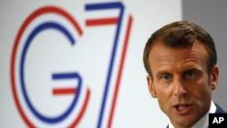 Francuski predsednik Emanuel Makron na samitu G7 u Bijaricu