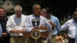 Obama təbii fəlakətdən sonra Luiziana ştatını ziyarət edib