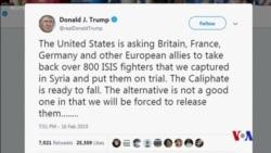 特朗普發推文稱伊斯蘭國組織哈里發將倒台 (粵語)