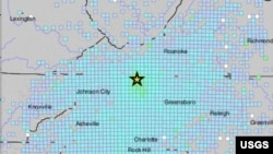 Earthquake locator map in Sparta, North Carolina, Aug. 9, 2020. (Credit: USGS)