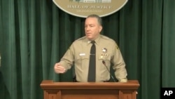 In this image take from a livestream video feed provided by the Los Angeles County Sheriff's Department, Sheriff Alex Villanueva speaks during a news conference, April 7, 2021, about Tiger Woods' car accident.