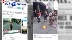 Người phản đối ông Trump đụng độ với các ủng hộ viên (VOA60)