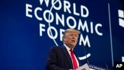 Le président Donald Trump, à l'ouverture du Forum économique mondial, le 21 janvier 2020, à Davos, en Suisse.