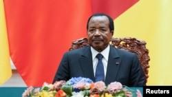 Le président du Cameroun, Paul Biya, lors d'une cérémonie au Grand Hall du Peuple à Pékin, en Chine, le 22 mars 2018.