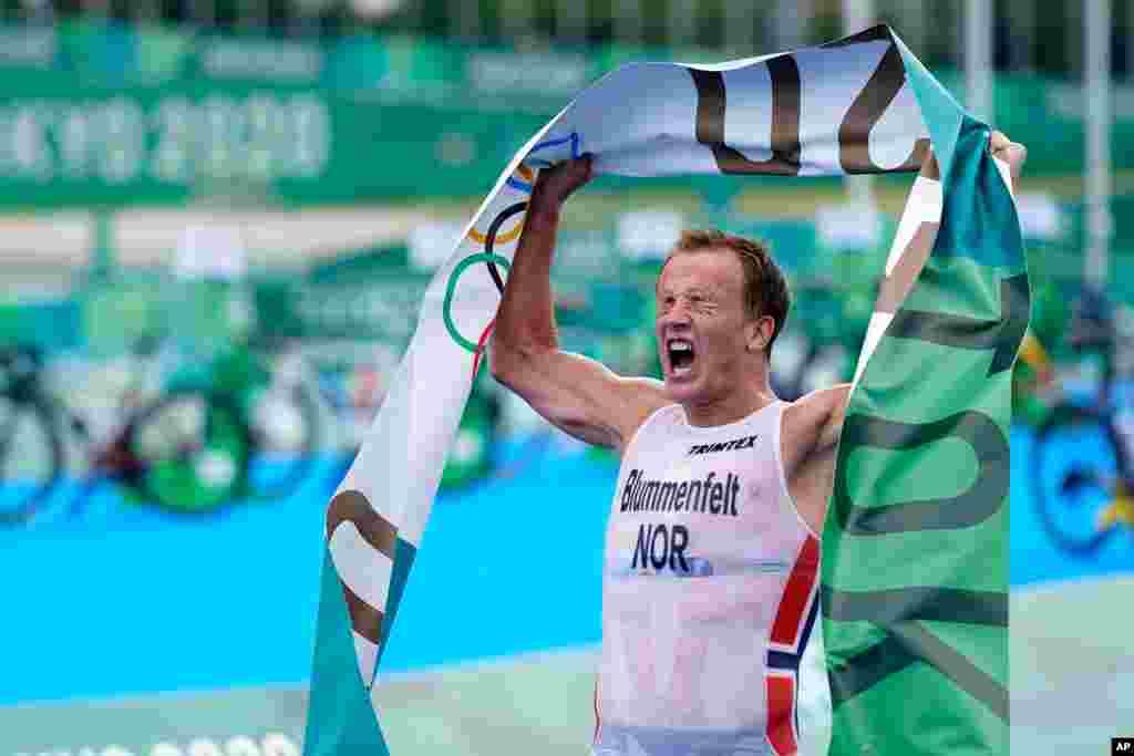 노르웨이의 크리스티안 블룸멘펄트 선수가 2020 도쿄 올림픽 트라이애슬로(철인3종경기) 남자 개인전에서 금메달을 목에 걸었다.