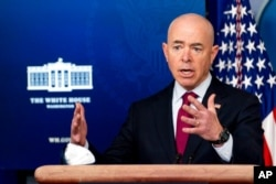FILE - Homeland Security Secretary Alejandro Mayorkas speaks during a press briefing at the White House, March 1, 2021.