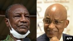 Le président guinéen Alpha Condé (à g.) s'adressant à ses partisans à Kissidougou le 12 octobre 2020, et l'ancien Premier ministre et principal opposant Cellou Dalein Diallo (à dr.) s'exprimant à Dakar, le 24 septembre 2020. (Archives)