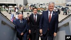 Israeli National Security Advisor Meir Ben-Shabbat, left, U.S. President Donald Trump's senior adviser Jared Kushner, center, and U.S. National Security Advisor Robert O'Brien, right, board the Israeli flag carrier El Al's airliner as they fly to UAE.