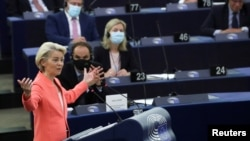 European Commission President Ursula von der Leyen delivers a speech during a debate on 'The State of the European Union' at the European Parliament in Strasbourg, France, Sept. 15, 2021. (Reuters/Yves Herman/Pool)