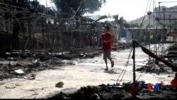 2016-09-20 美國之音視頻新聞: 希臘難民營發生火災 上千人被迫疏散