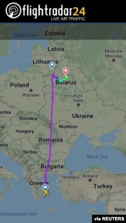 A still image shows a flight path of Ryanair FR4978 on May 23, 2021 on its way from Athens, Greece to Lithuanian capital Vilnius and diverted to Minsk, Belarus. (Courtesy: FLIGHTRADAR24.COM/Handout)