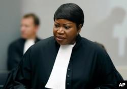 FILE - Prosecutor Fatou Bensouda at the International Criminal Court (ICC) in The Hague, Netherlands.