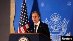 U.S. Secretary of State Antony Blinken speaks during a news conference in Jerusalem, May 25, 2021.