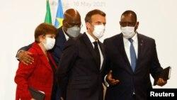 Presidente francês, Emmanuel Macron, directora do FMI, Kristalina Georgieva, Presidente senegalês Senegalês, Macky Sall e Presidente da RDC, Felix Tshisekedi, em Paris, 18 de Maio de 2021
