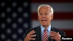Kandidat presiden AS dari Partai Demokrat dan mantan Wakil Presiden Joe Biden saat berkampanye di Scranton, Pennsylvania, 23 Oktober 2019.