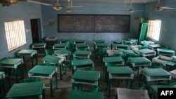 FILE - This photograph shows a deserted classroom at the Government Girls Secondary School in Jangebe, a village in Zamfara State, northwest of Nigeria on Feb. 27, 2021.