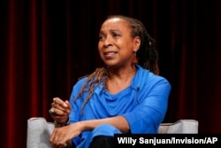 """FILE - Kimberle Crenshaw speaks about Reconstruction at a Television Critics Association press tour in Pasadena, Calif., in 2019. Crenshaw, of the African American Policy Forum, says CRT initially was """"about telling a more complete story"""" of America."""