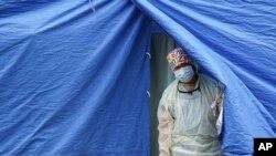 미국 뉴욕 브루클린의 신종 코로나바이러스 이동 검사소.