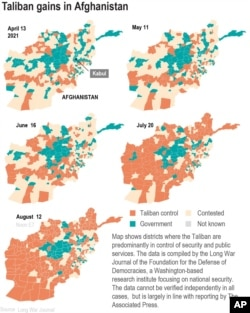Maps show areas controlled by Taliban at selected dates each month.