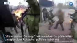 Şili'de Molotof Kokteyl Polislerin Yüzünü Yaktı