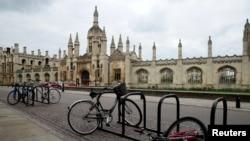 FILE - Bikes are seen outside Cambridge University amid the coronavirus pandemic, in Cambridge, Britain, April 1, 2020.