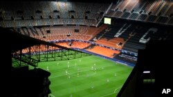 General view of the Mestalla stadium during the Champions League round of 16 second leg soccer match between Valencia and Atalanta in Valencia, Spain, Tuesday March 10, 2020. The match is being in an empty stadium because of the coronavirus outbreak…