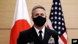 资料照:美国印太司令部司令、海军上将菲利普·戴维森(Philip Davidson)在东京访问。(2020年10月22日)