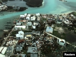 An aerial view shows devastation after hurricane Dorian hit the Abaco Islands in the Bahamas, September 3, 2019, in this image obtained via social media.