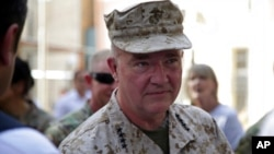 Marine Gen. Frank McKenzie, the head of U.S. Central Command, attends a ceremony at Resolute Support headquarters, in Kabul, Afghanistan, July 12, 2021.