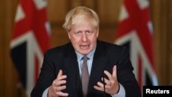 Perdana Menteri Inggris Boris Johnson dalam konferensi pers virtual di London, 9 September 2020.