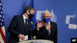24일 벨기에 브뤼셀을 방문 중인 토니 블링컨 미국 국무장관과 호세프 보렐 EU 외교안보정책 고위대표가 회담 후 공동성명을 발표했다.