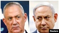 اسرائیلی وزیر اعظم نیتن یاہو اور حزب مخالف رہنما بینی گینز (فائل فوٹو)