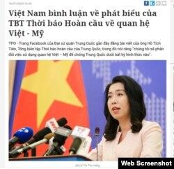 Bộ Ngoại giao Việt Nam phản hồi về bài báo của Tổng biên tập Hoàn cầu Thời báo. Photo Tiền Phong.