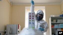 러시아 모스크바의 가말레야 연구소 연구원이 신종 코로나바이러스 백신 관련 실험을 하고 있다. 러시아는 지난 11일 가말레야 연구소에서 최초 신종 코로나바이러스 백신을 개발했다고 말했다.