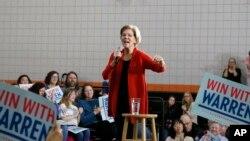 Democratic presidential candidate Senator Elizabeth Warren speaks during a town hall meeting in Davenport, Iowa, Jan. 26, 2020.
