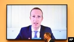 Mark Zuckerberg, CEO của Facebook, điều trần từ xa trước Ủy Ban Tư Pháp Quốc Hội Hoa Kỳ, 29 tháng Bảy, 2020.