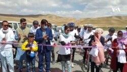 حضور دختران و پسران بامیانی در مسابقات بایسکل رانی