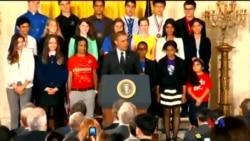 2014-05-28 美國之音視頻新聞: 奧巴馬主持白宮科學展 鼓勵學習數學科技