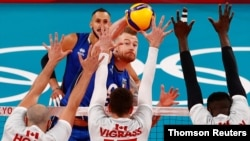 Italy against Canada in Men's Pool A Volleyball at Ariake Arena, Tokyo, July 23, 2021.