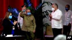 رائول کاسترو در کنگره هشتم حزب کمونیست کوبا در هاوانا - ۲۷ فروردین ۱۴۰۰