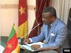 FILE - Cameroon Prime Minister Joseph Dion Ngute speaks during a meeting on the country's reconstruction, in Yaounde, Dec. 5, 2019. (Moki Edwin Kindzeka/VOA)