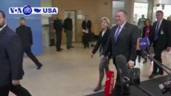 VOA60 America - Newly confirmed Secretary of State Mike Pompeo attends a NATO meeting in Brussels