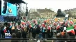 تجمع حامیان مجاهدین خلق در پاریس برای سرنگونی جمهوری اسلامی ایران