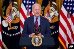 President Joe Biden speaks about the coronavirus pandemic in the East Room of the White House in Washington, Aug. 3, 2021.