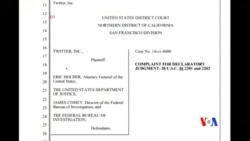 2014-10-08 美國之音視頻新聞: 推特狀告美國司法部